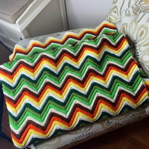 Vintage Knitted Handmade Multicolor Afghan Blanket